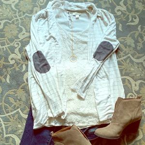 White and gray long cardigan with elbow patches